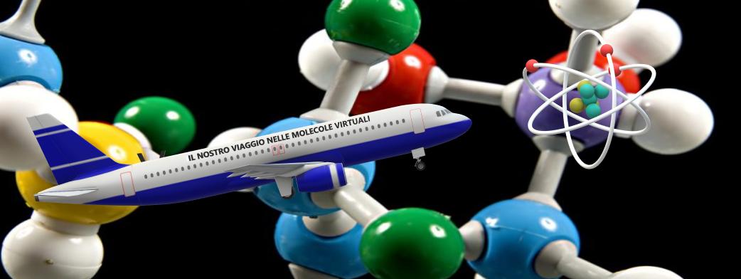 logo raffigurante modellino di aereo tra modelli molecolari