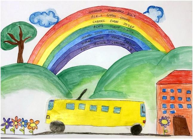 Disegno pulmino su strada e sfondo arcobaleno.