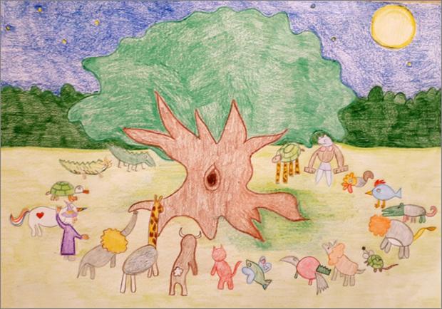 Disegno animali fantastici in cerchio