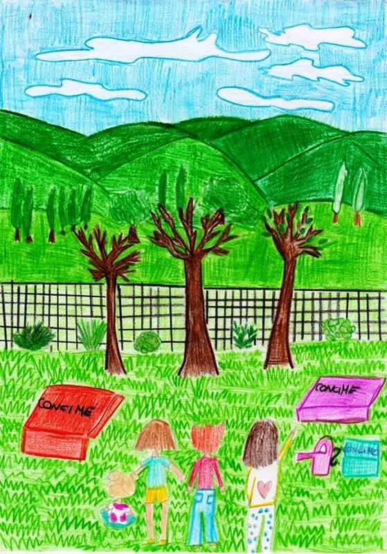 disegno bambini nell'orto botanico