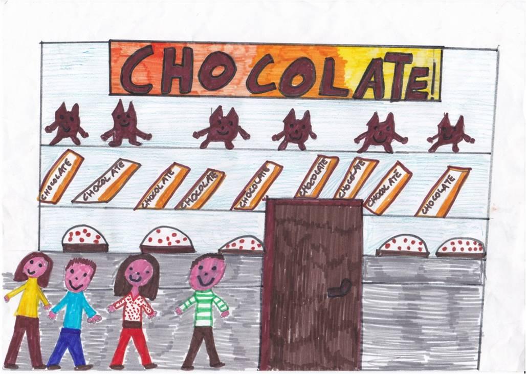 disegno negozio di cioccolato e dolci