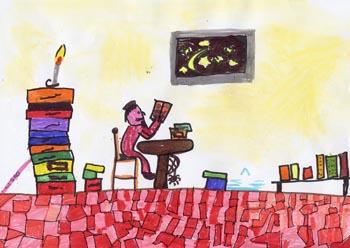 disegno di una persona in casa che sta leggendo