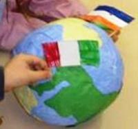 immagine riproduzione in 3D del globo terrestre