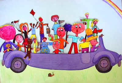 disegno bambini su un'auto