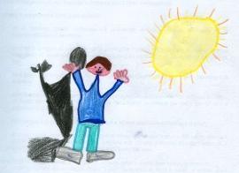 disegno di un bambino con la sua ombra